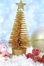 Árbol de Navidad de oro, bolas, juguete, nieve, brillo