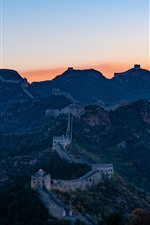 Preview iPhone wallpaper Great Wall, mountains, sunset, China