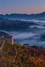 Preview iPhone wallpaper Great Wall, mountains, top view, fog, China
