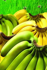 Preview iPhone wallpaper Green and yellow bananas, fruit