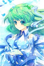 Preview iPhone wallpaper Green hair anime girl, snake, wind