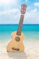 Preview iPhone wallpaper Guitar, beach, sea, clouds, sunshine