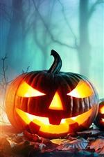 Preview iPhone wallpaper Halloween, pumpkin lantern, forest, night, fog