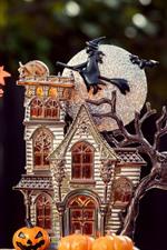 Preview iPhone wallpaper Halloween theme, house model, moon, pumpkin, tree, leaves