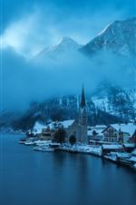 Preview iPhone wallpaper Hallstatt, Austria, winter, snow, lake, mountains, fog, beautiful village