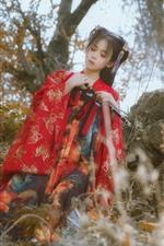 iPhone fondos de pantalla Chica de la dinastía Han, estilo retro, flauta.