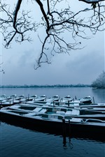 iPhone fondos de pantalla Hangzhou, hermoso invierno, barcos, ramitas, nieve, lago, parque, China