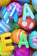 Preview iPhone wallpaper Happy Easter, colorful eggs, 3D design