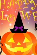 Preview iPhone wallpaper Happy Halloween, cat, bat, pumpkin, art picture