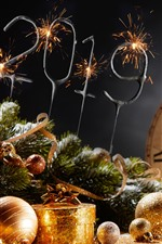 Feliz Ano Novo de 2019, bolas de Natal, champanhe, estilo de ouro