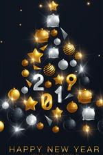 Feliz año nuevo 2019, árbol de navidad, decoración.