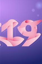 Feliz Año Nuevo 2019, Año del Cerdo, estilo rosa.