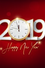 Preview iPhone wallpaper Happy New Year 2019, clock, red background