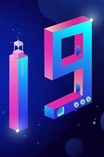 Feliz año nuevo 2019, diseño creativo, numerica colorido.