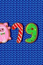 Feliz año nuevo 2019, año del cerdo, galletas, cuadro del arte