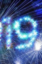 Feliz año nuevo 2019, chispas, brillo, fuegos artificiales