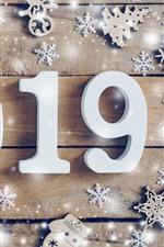 Ano novo feliz 2019, branco numérico, flocos de neve