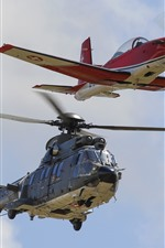 Preview iPhone wallpaper Helicopter and airplane