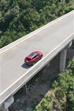 Carretera, carretera, coche rojo, vista superior