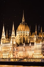 Preview iPhone wallpaper Hungary, Budapest, House of Parliament, lights, river, night