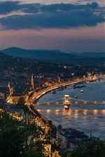 Preview iPhone wallpaper Hungary, Budapest, cityscape, night, river, bridge