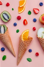 Ice cream cone, fruit slice, kiwi, orange, apple, strawberry, blueberry