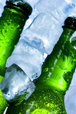 Preview iPhone wallpaper Ice cubes, bottles, beer