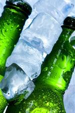 Ice cubes, bottles, beer