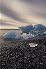 Preview iPhone wallpaper Ice, sea, coast, stones, morning