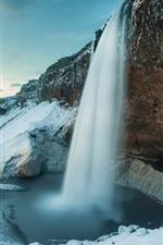Island, Seljalandsfoss, Wasserfall, Winter, Schnee, Klippe