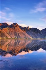 Preview iPhone wallpaper Iceland, Vestrahorn mountains, sea, water reflection, clouds