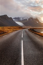 Preview iPhone wallpaper Iceland, mountains, road, clouds, sunset, fog