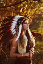 India girl, feathers, head decoration