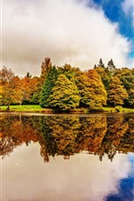 Preview iPhone wallpaper Ireland, Botanic Gardens Dublin, trees, lake, water reflection, autumn