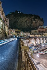 Italia, Atrani, Costa Amalfitana, ciudad, carretera, casas, noche, luces