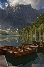 Preview iPhone wallpaper Italy, Dolomites, South Tyrol, mountains, trees, lake, boats