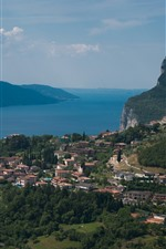Preview iPhone wallpaper Italy, Garda, lake, mountains, city, clouds