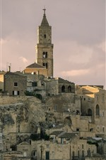 Preview iPhone wallpaper Italy, Matera, Basilicata, houses, clouds, city