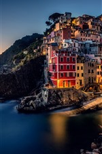 Preview iPhone wallpaper Italy, Riomaggiore, Cinque Terre, Ligurian sea, houses, coast, sea