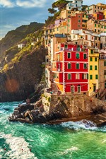 Italy, Riomaggiore, houses, sea, waves, sunset