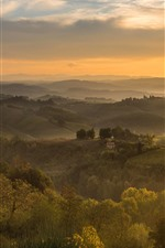 Preview iPhone wallpaper Italy, village, fog, trees, fields, morning, fog