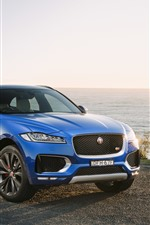 Preview iPhone wallpaper Jaguar F-Pace blue SUV car