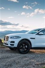 Preview iPhone wallpaper Jaguar F-Pace white SUV car side view