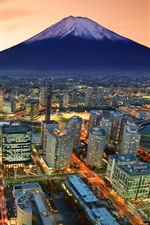 Preview iPhone wallpaper Japan, Fuji Mountain, city, skyscrapers, lights, dusk