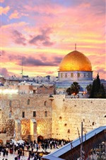 Preview iPhone wallpaper Jerusalem, Israel, city, buildings, church, street, people, night