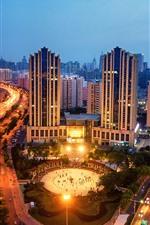 Preview iPhone wallpaper Jinan, Shandong, city, night, buildings, lights, roads