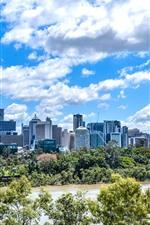 미리보기 iPhone 배경 화면 캥거루 포인트, 브리즈번, 퀸즐랜드, 호주, 도시, 고층 빌딩, 바다