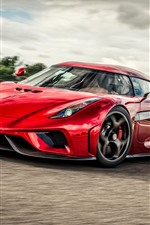 Koenigsegg red supercar front view