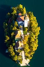 Lago Bled, isla, iglesia, vista superior, Eslovenia