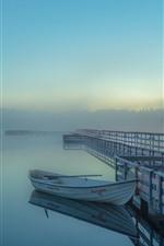 Lago, barco, cais, cerca, nevoeiro, manhã